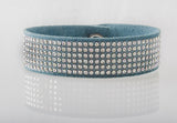 HT Leather Goods Sterling Leather Bracelet Teal Suede and Genuine Swarovski Crystals