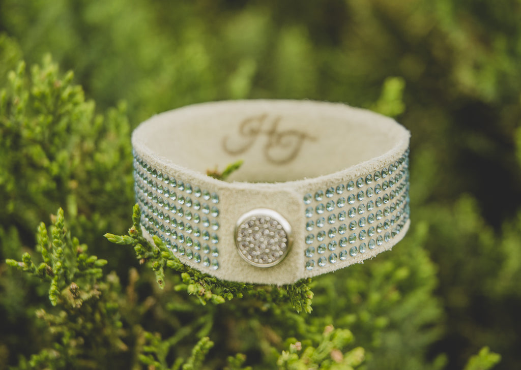 Buffed Suede Bracelet Cuff with Authentic Swarovski Crystals