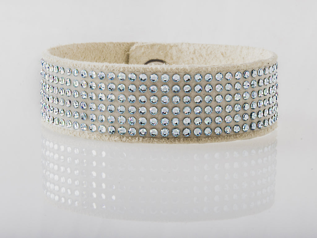 HT Leather Goods Swingley Leather Bracelet Eggshell Suede with Aquamarine Swarovski Crystals
