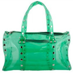 Hammitt LA Robertson Beachbag, see through, green, silver studs, clear, plastic