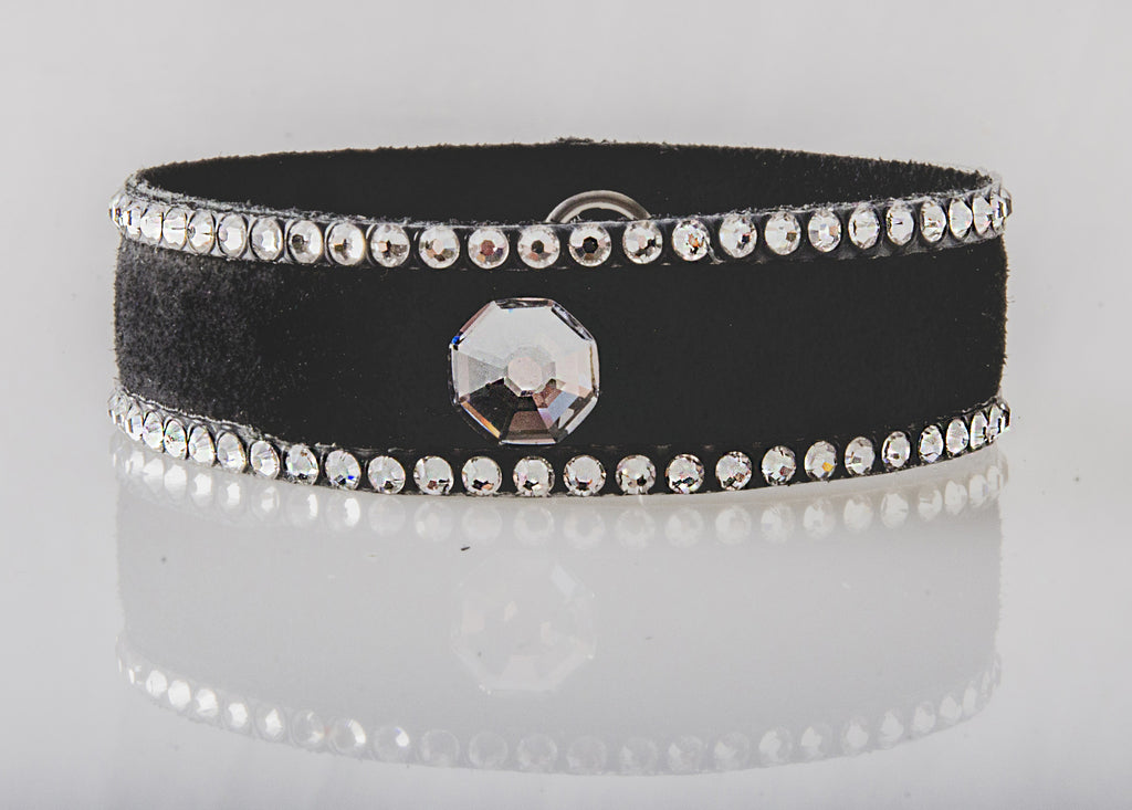 HT Leather Goods Yellowstone Leather Bracelet Accent Crystal Large Black Leather Genuine Crystals
