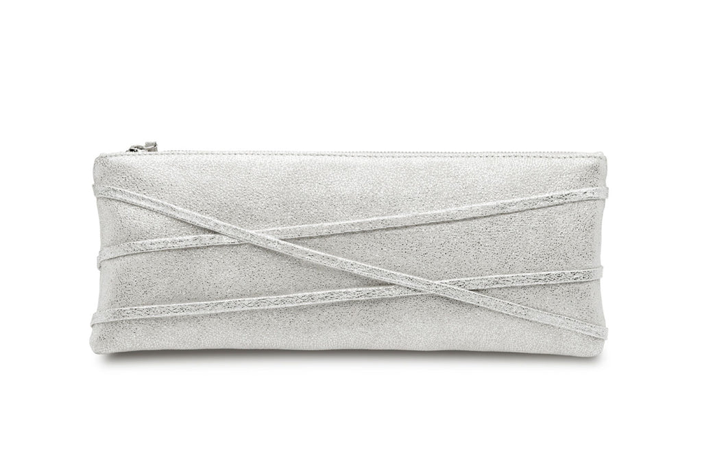 feNa ladie's leather clutch in silver glitter Fairy Dust