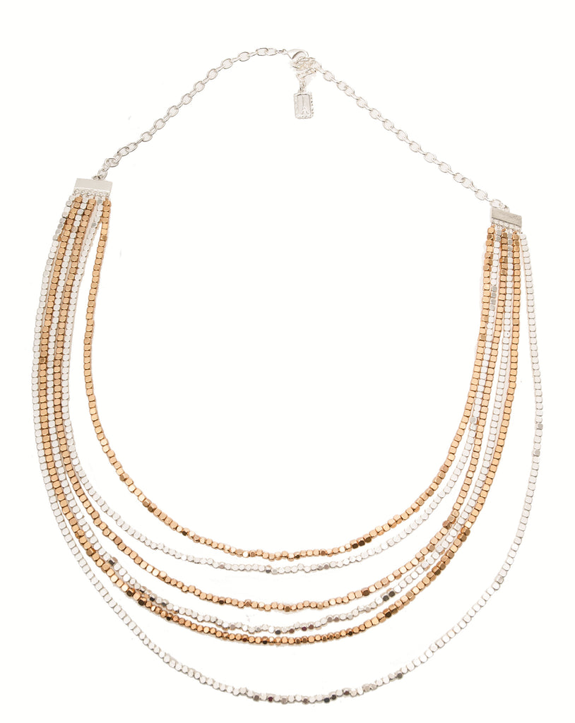 Karine Sultan Rose Gold & Silver Beaded Necklace