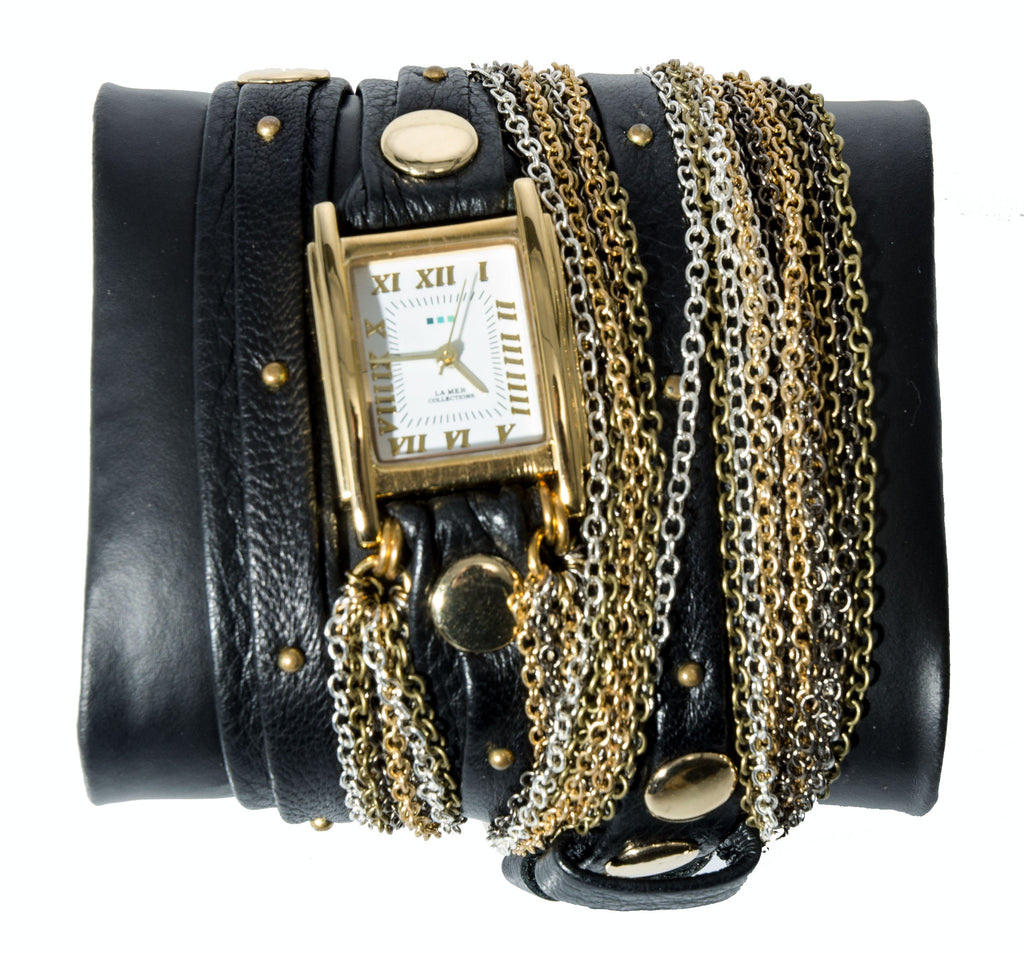 La Mer Collections Black/Gold Duo Stud Leather Watch Bracelet