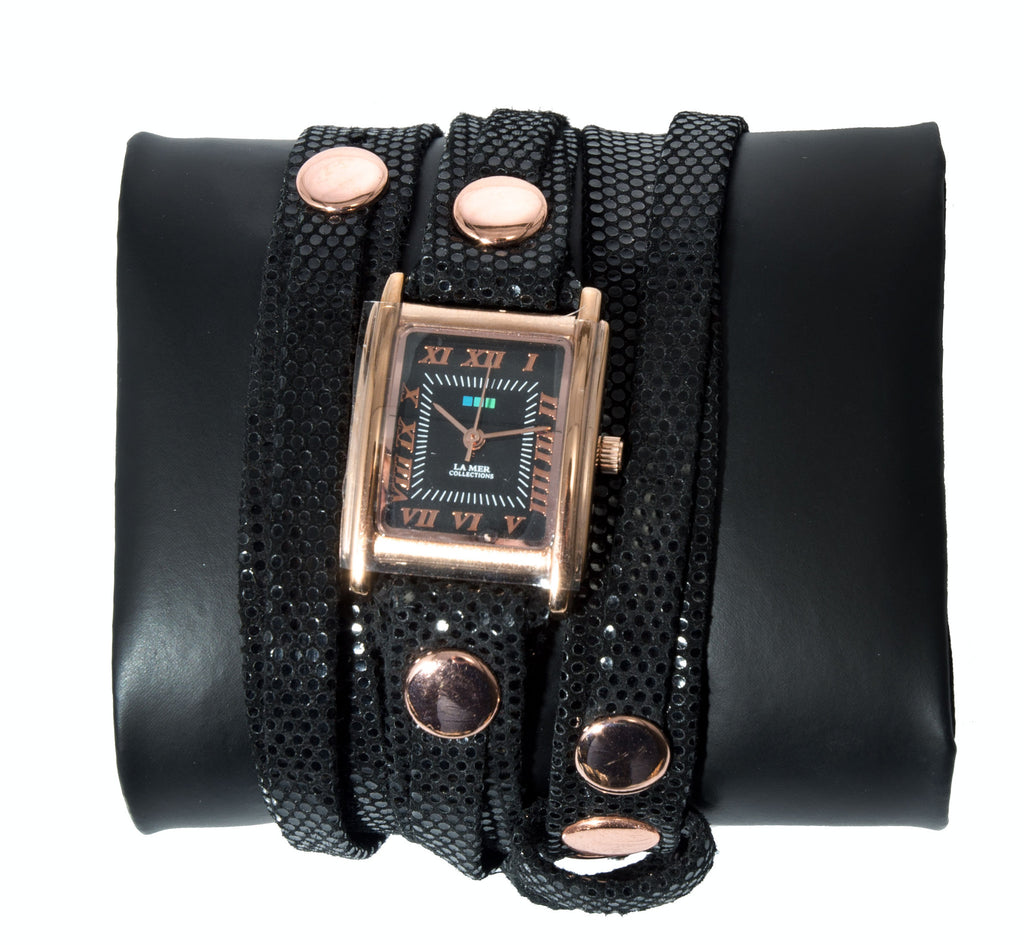 La Mer Collections Black Sequin Leather Watch