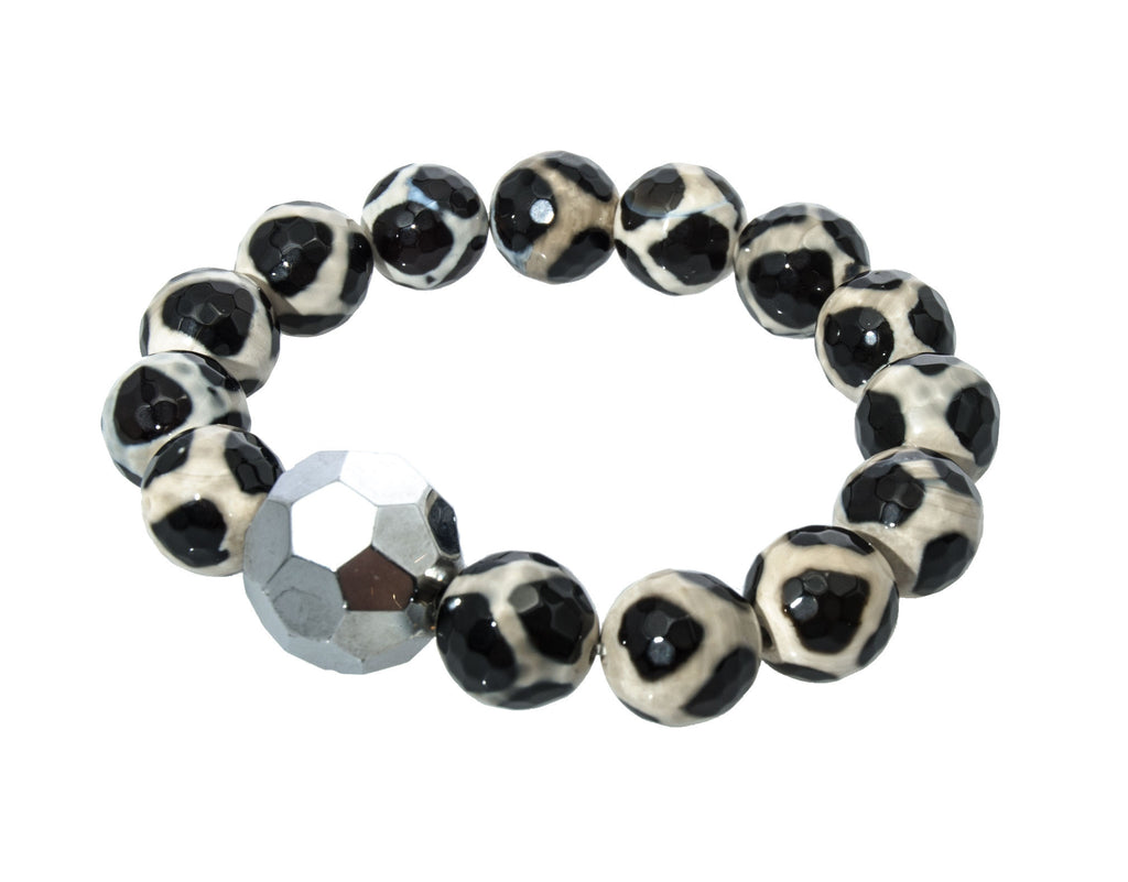 Holly Zaves Black & White Beaded Bracelet with Silver Globe