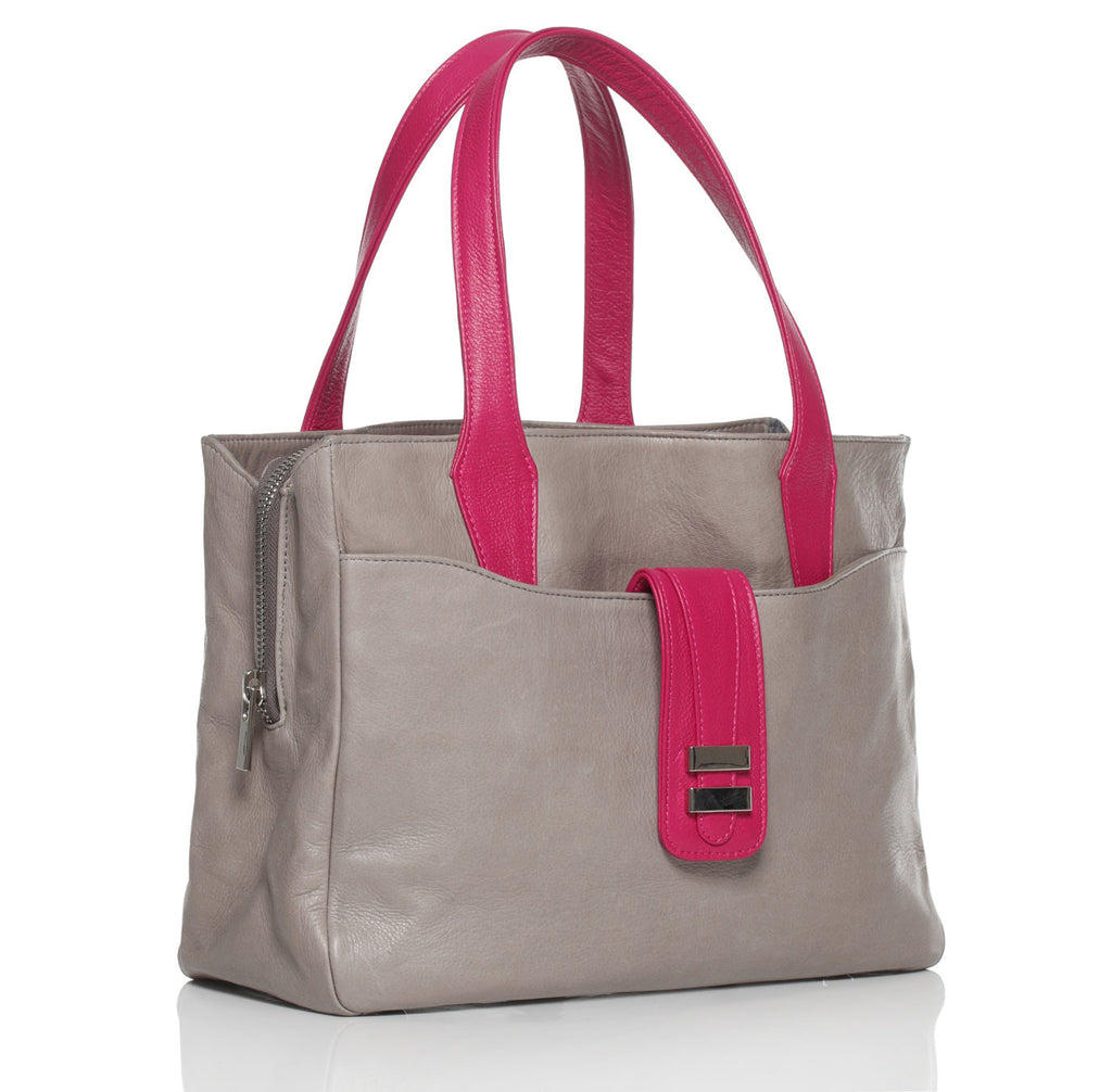 Alexandra Satine, brighton tote, tote, Gray, Grey, Handbag, Satchel