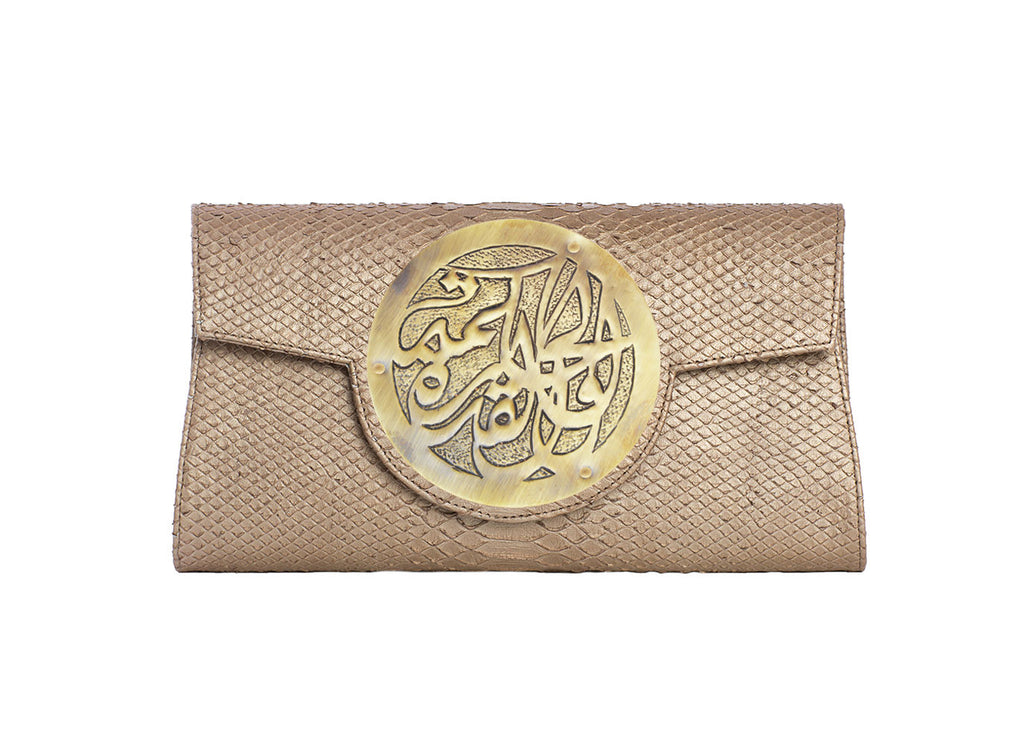 "Dareen Hakim Le Icon Clutch Bronze Python/Bronze ""Wisdom & Strength"" DH-IC-BRP"