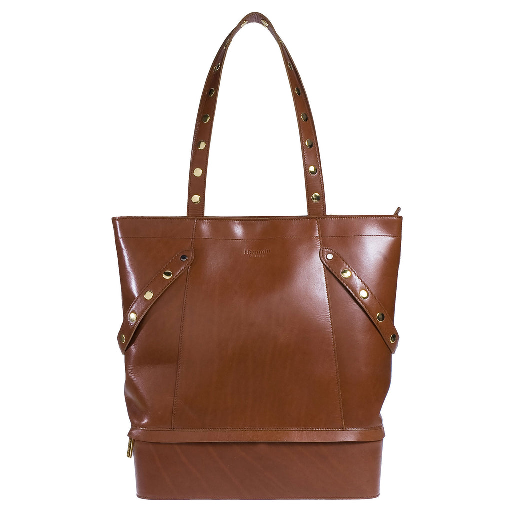 Hammitt Everyday City Tote Signature Cognac Handbag with Gold Hardware