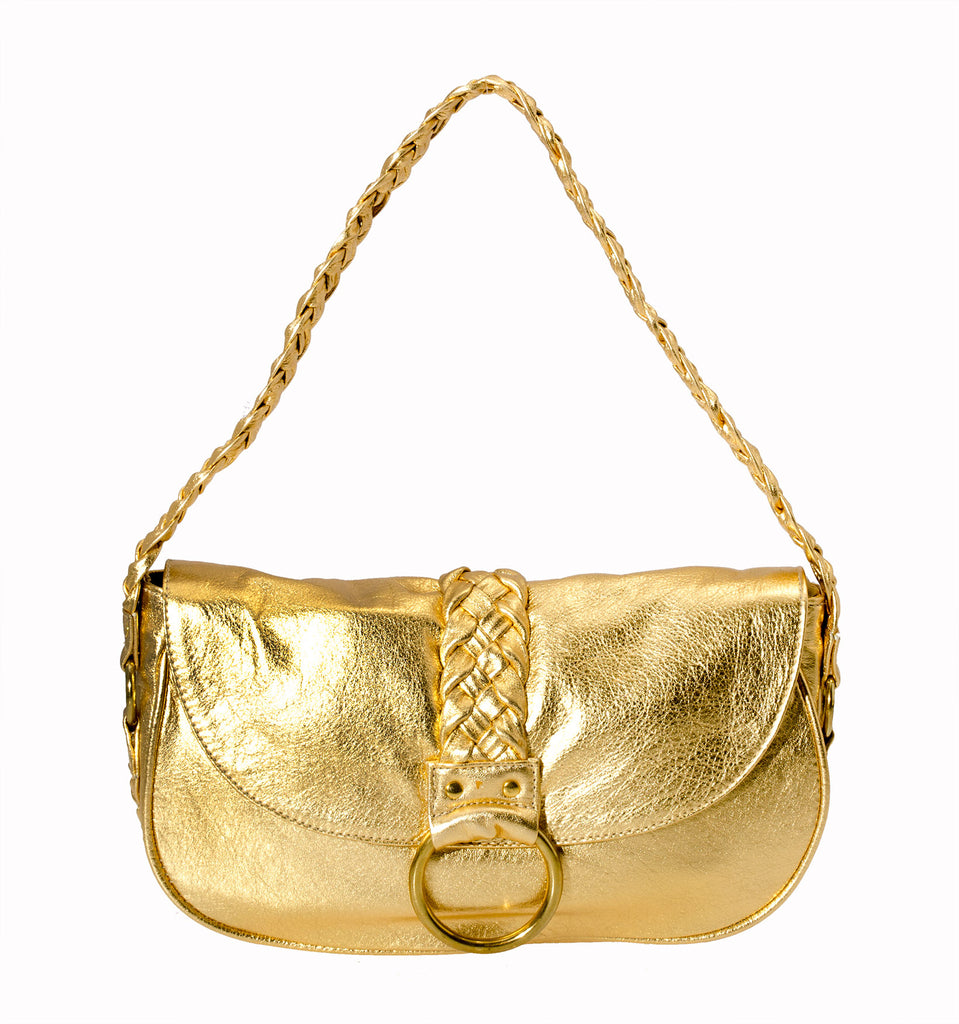 Marnie Bugs Gold Mettalic crafted leather handbag, Marnie Bugs fashinonable shoulder size purse