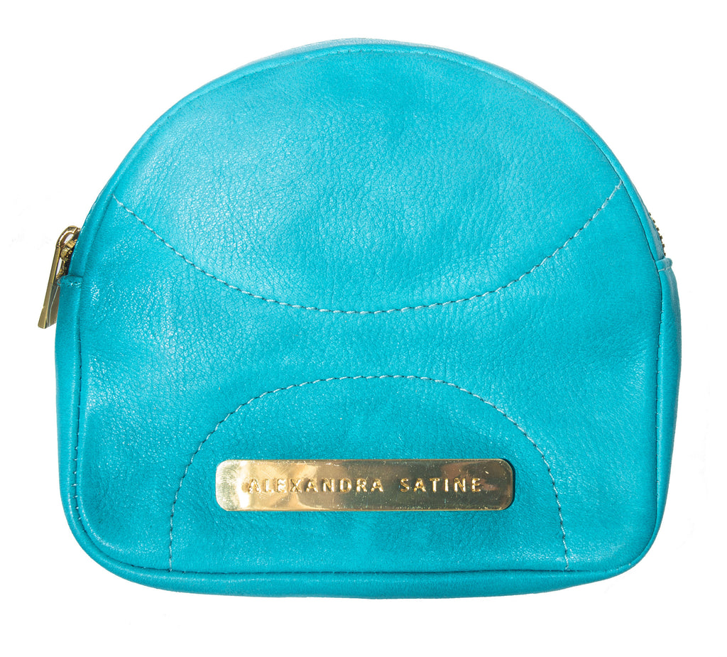 Teal blue, Aqua blue leather, gold accents, mini handbag