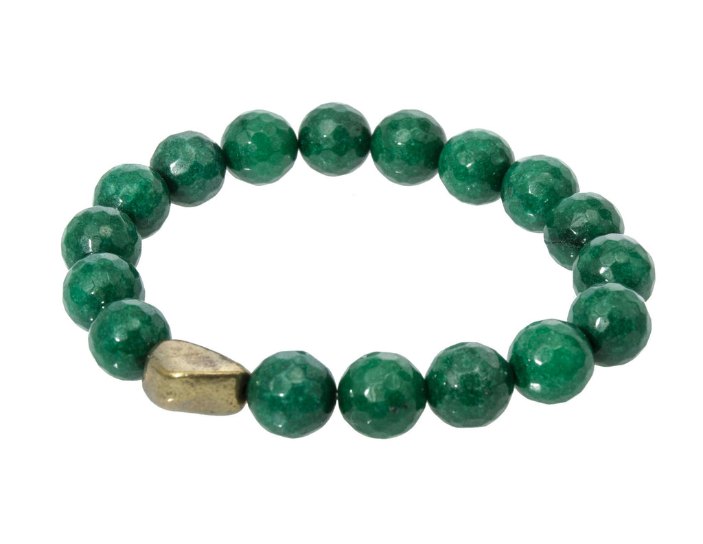 Holly Zaves Green Forest Beaded Bracelet with Gold Nugget Irregular Bead