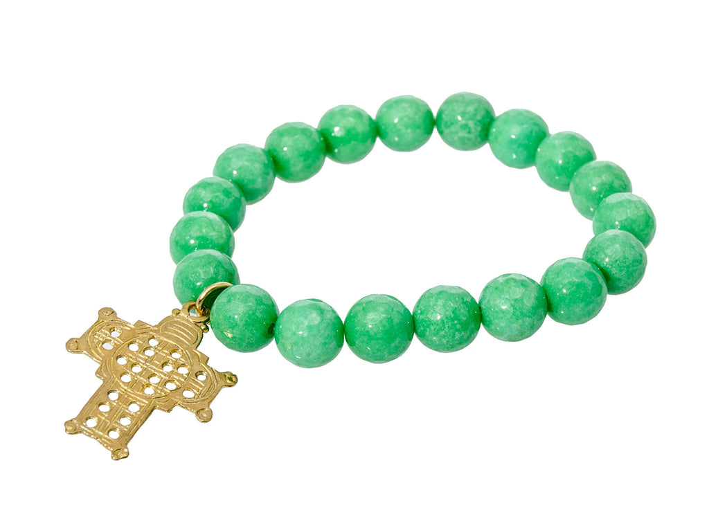 Holly Zaves Green Beaded Bracelet with Gold Cross Jade Faceted Beads