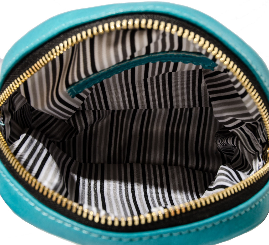 Alexandra Satine, Curacao, pouch, leather, signature striped fabric