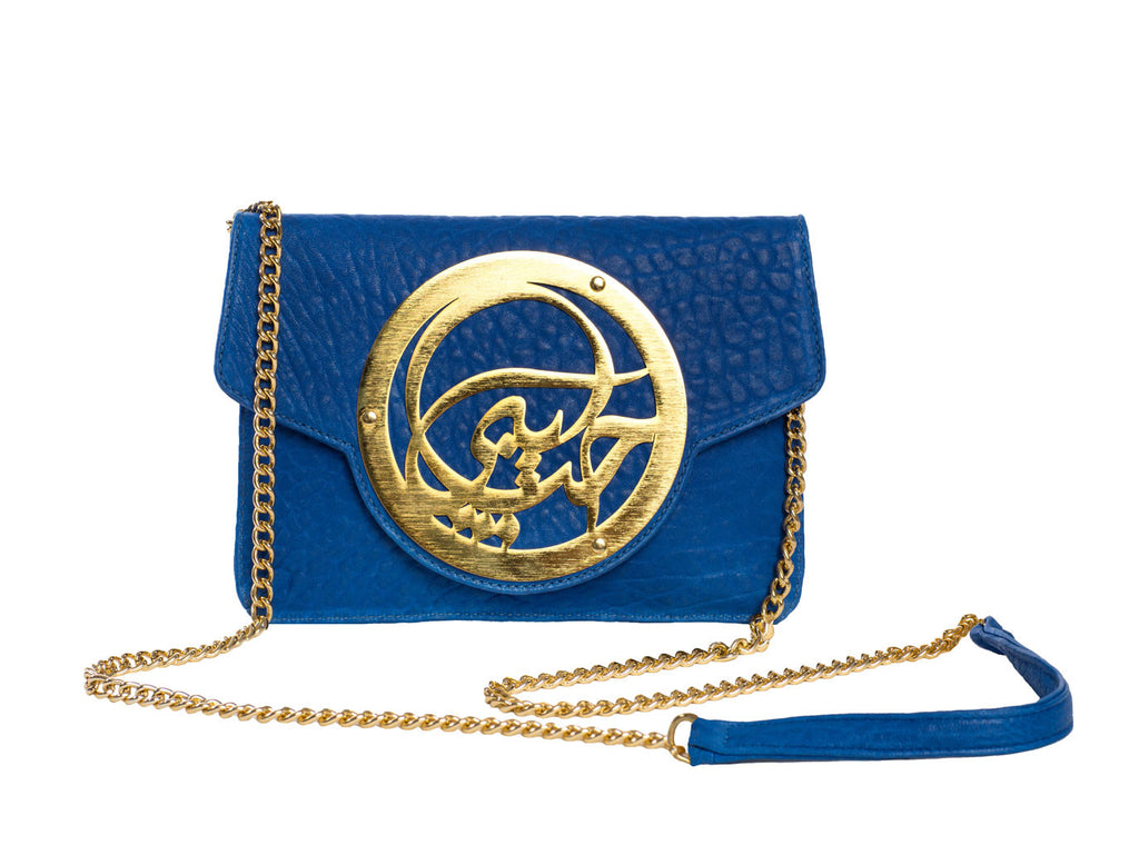 Dareen Hakim Le Icon Pochette Blue Leather with Gold Chain
