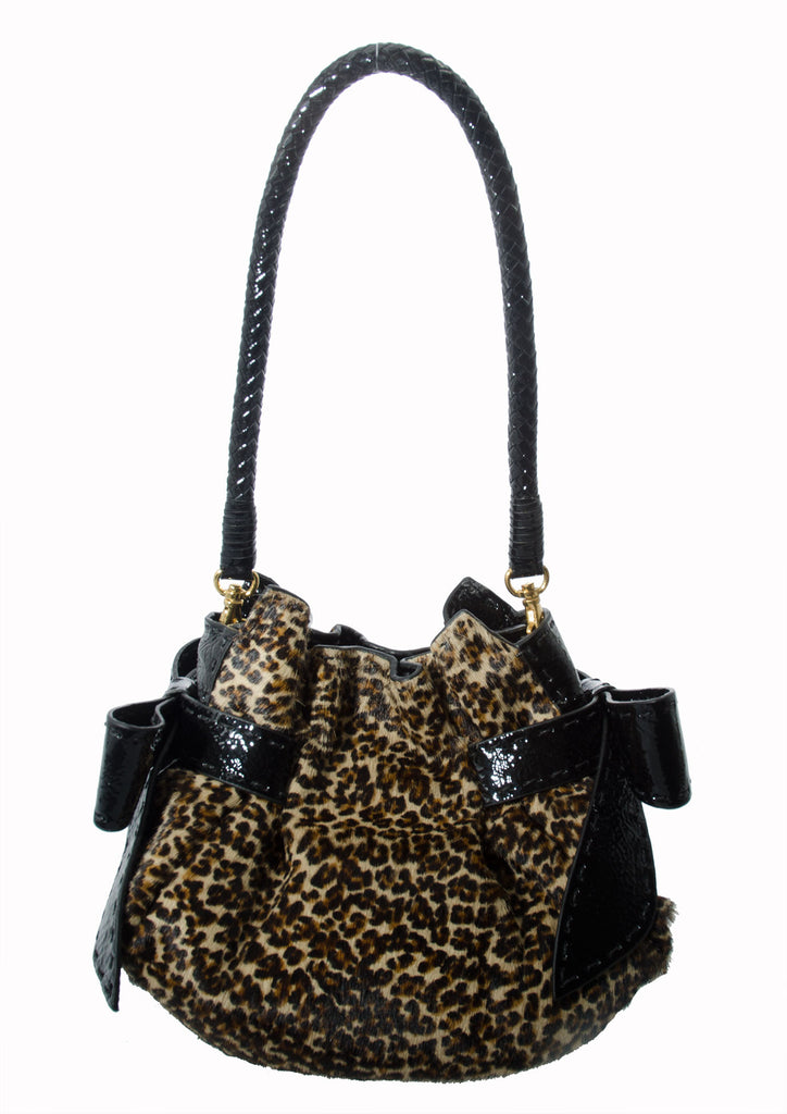 Catherine Adair Betula Pouch Leopard leather accents