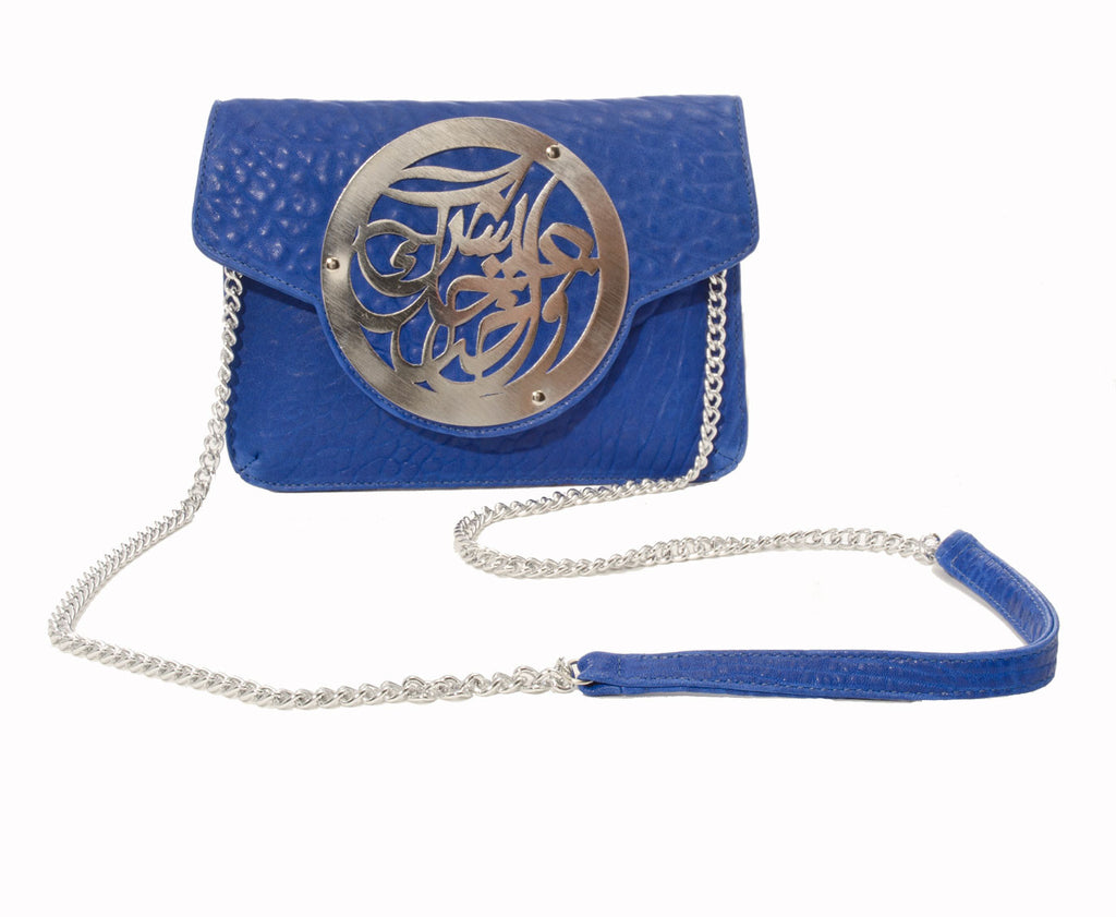 Dareen Hakim Le Icon Pochette Blue with Silver Chain