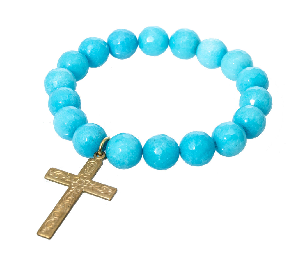 Holly Zaves Faceted Blue Beaded Bracelet with Cross