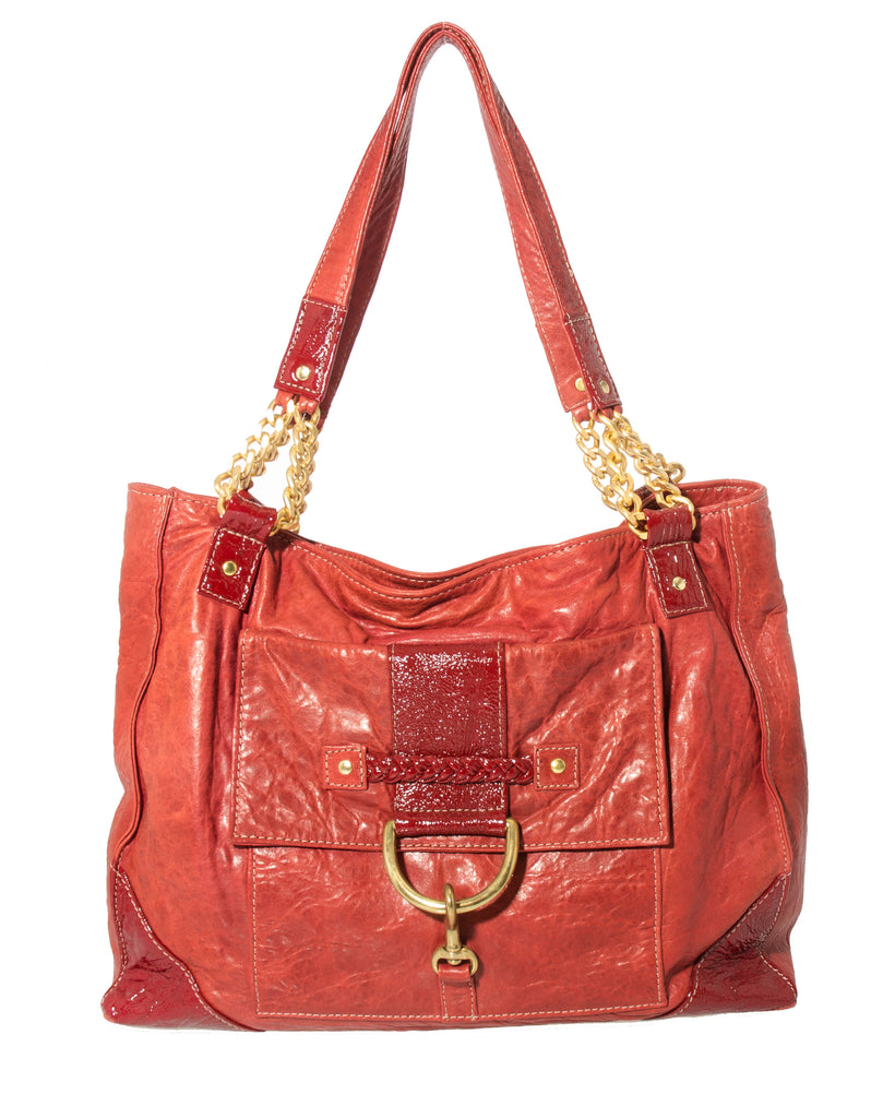 Marnie Bugs Stylish Red Leather Handbag with wristlet, Marnie Bugs trendy designer purse