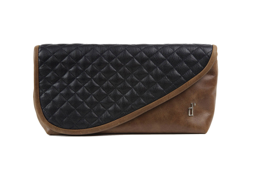 Black & Brown Leather d'andrea handbags Mr. Precarious Clutch