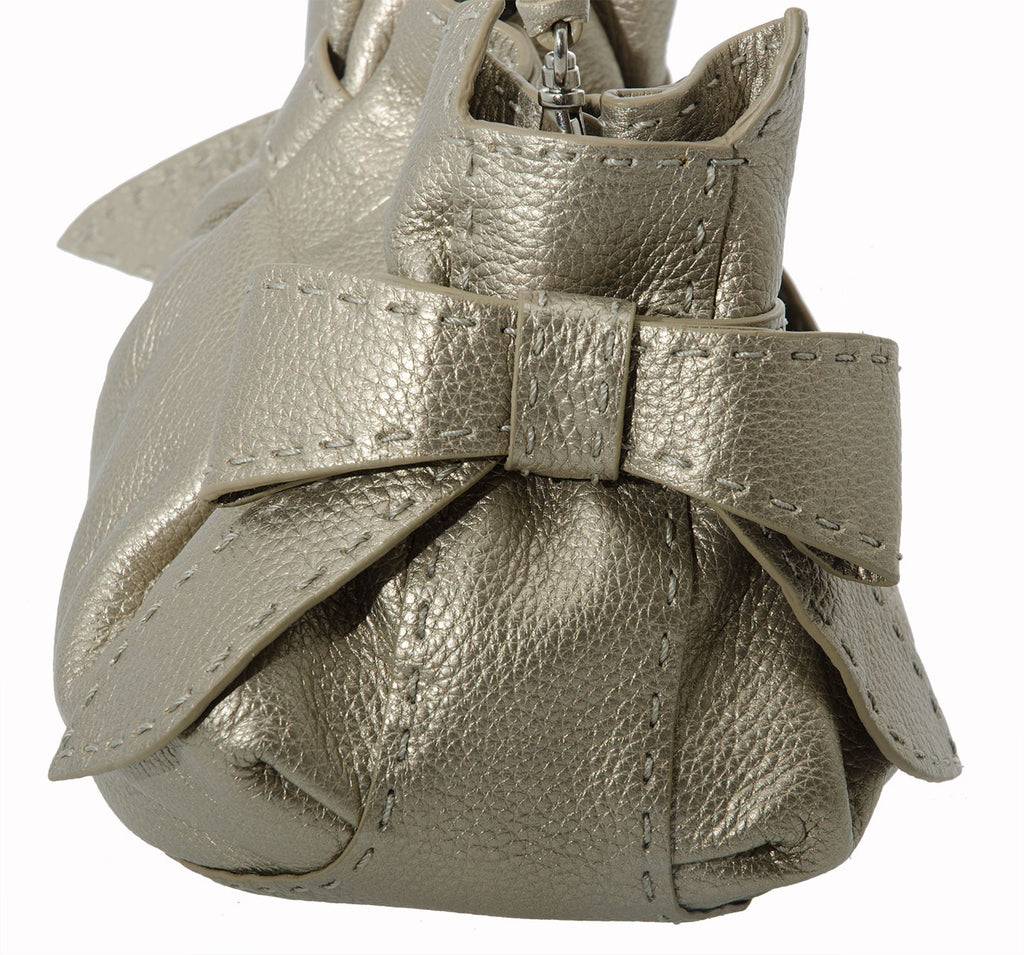 Leather Catherine Adair Betula Clutch with bow in Pewter
