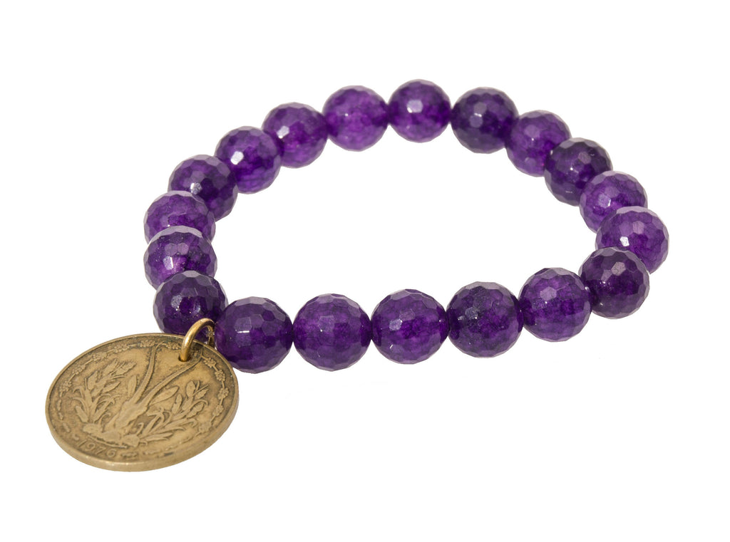 Holly Zaves Purple Beaded Bracelet with Franc Coin Charm