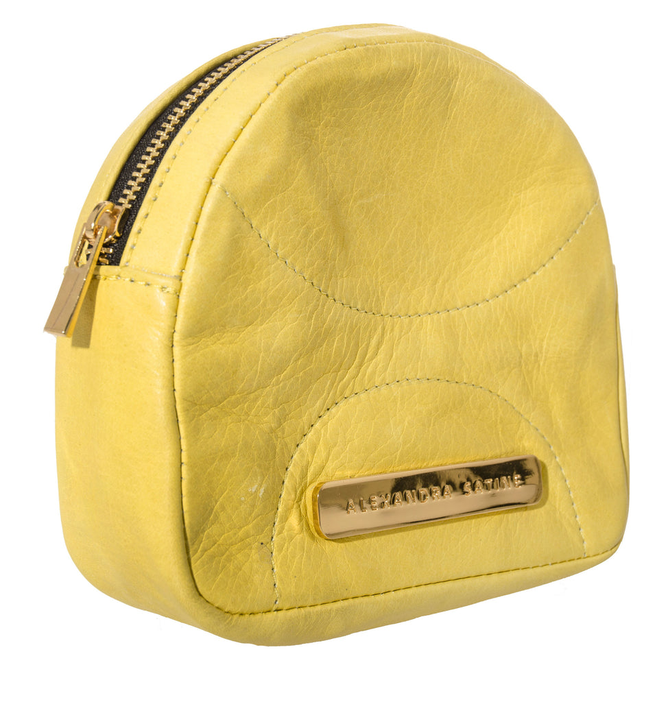 Alexandra Satine, Curacao, pouch, leather, lemony yellow