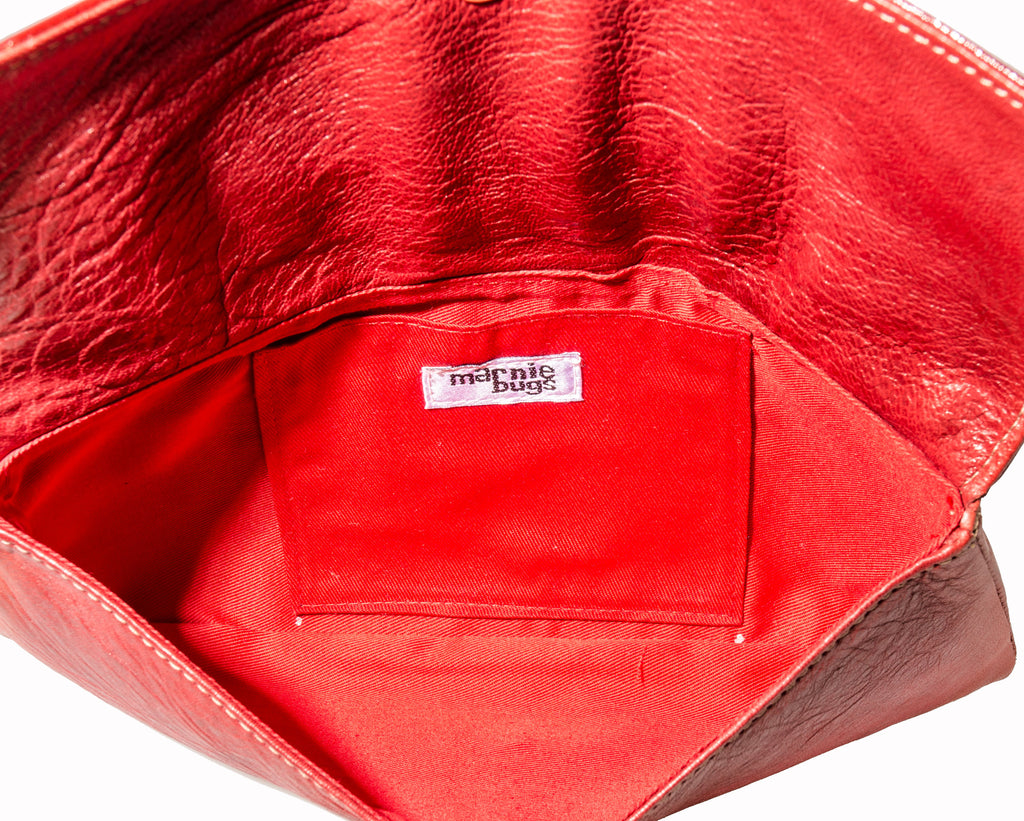 Marnie Bugs stylish red clutch, marnie bugs exceptional soft leather handbag