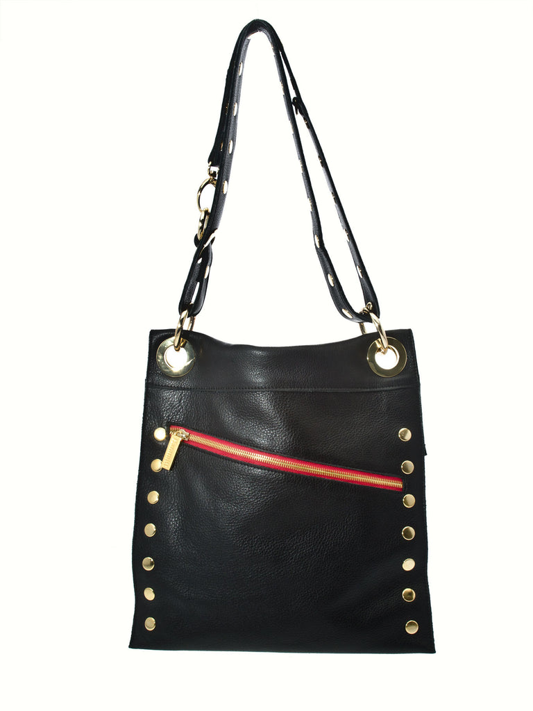 Hammitt Los Angeles The Strip: Black American Leather Crossbody Handbag with Gold Hardware