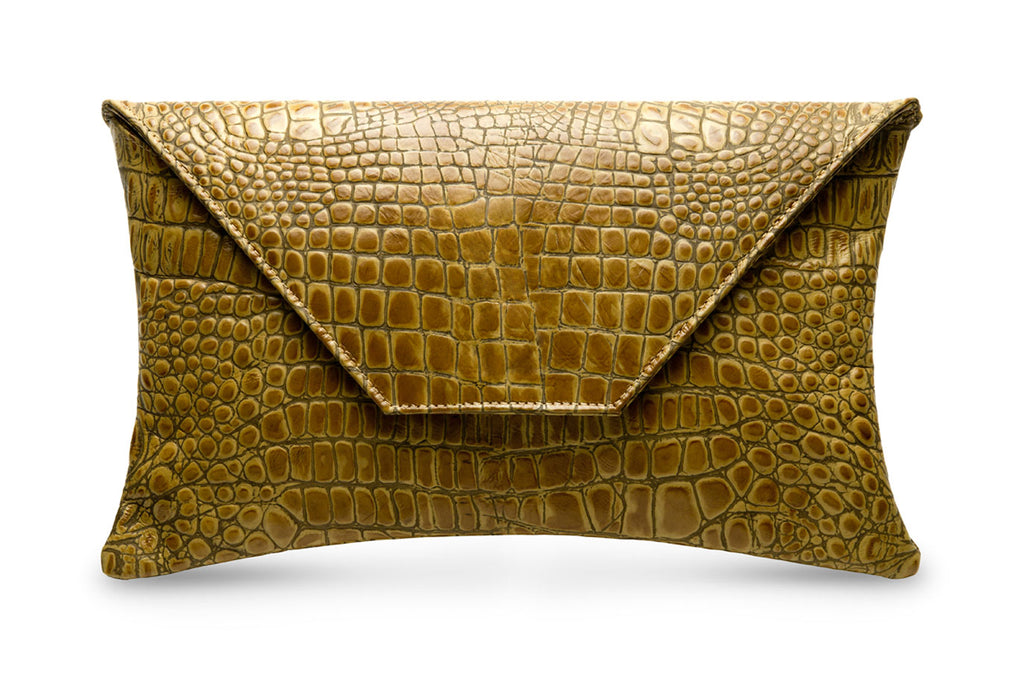 Carmel Brown feNA alligator embossed leather oversized clutch