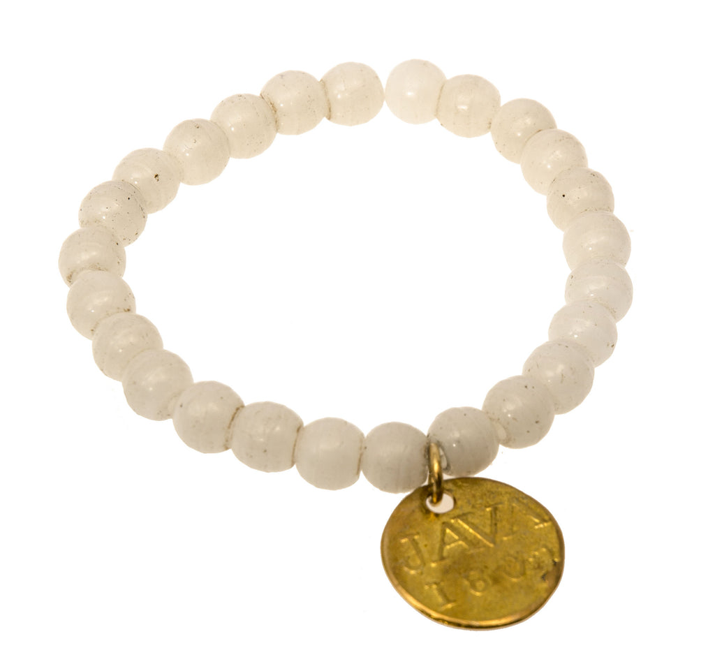 Holly Zaves White Beaded Bracelet with Java Coin