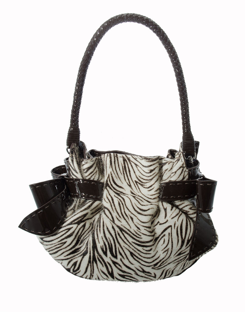 Catherine Adair Betula Pouch Zebra Belt-like bow accent