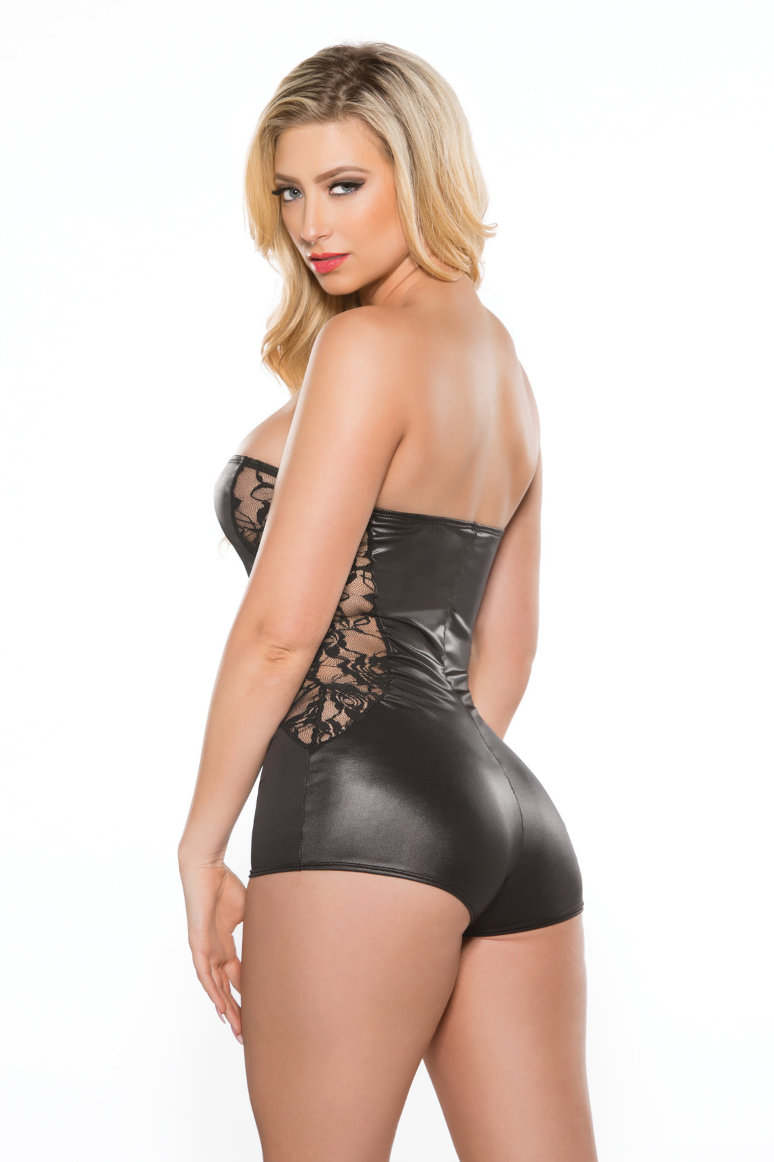 Lace & Wetlook Strapless Romper (10-2602)