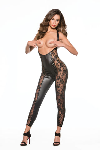 Lace & Wetlook Open Bust Catsuit (10-5602)