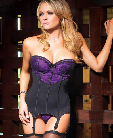 Black and Purple Powernet Bustier and G-String Set (1033)