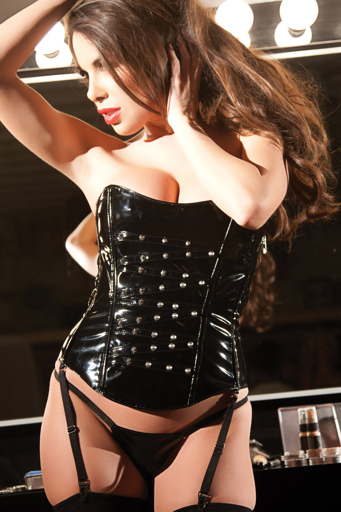 Studded Vinyl Corset and G-String Set (11-1907)