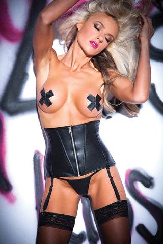 Perforated Faux Leather Waist Cincher Set (11-8502)
