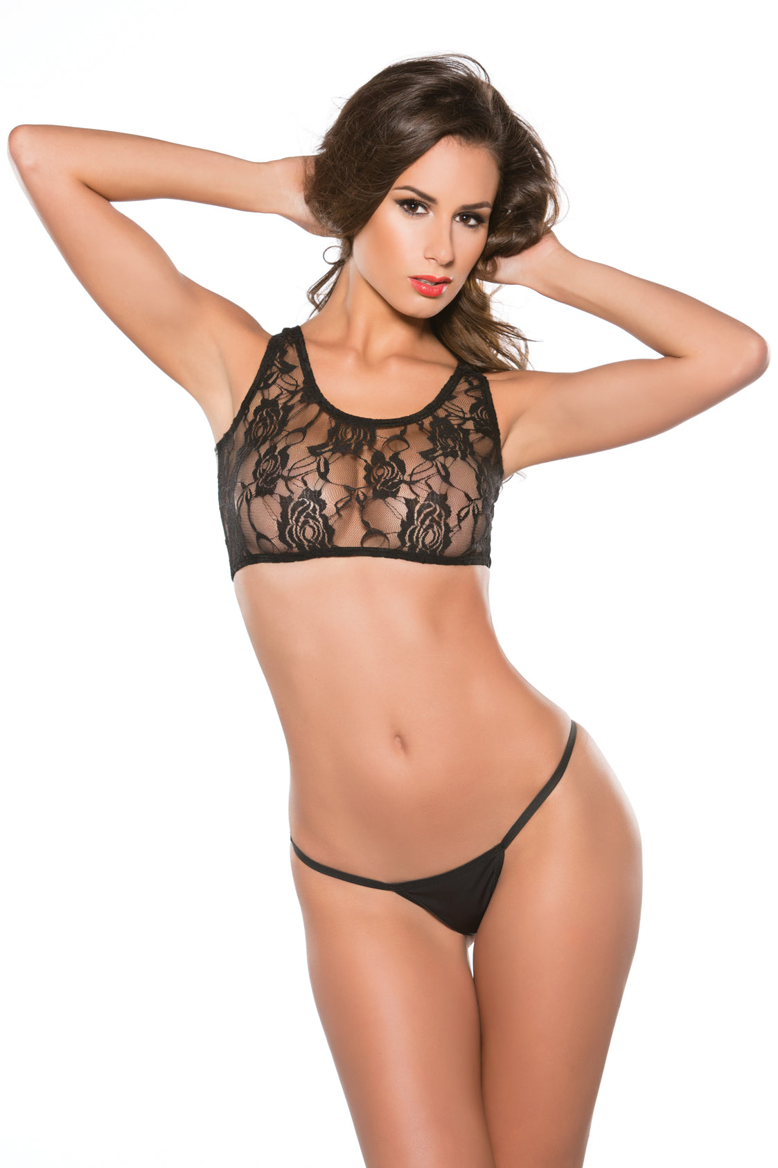 Lace and Wetlook Midriff Tank and G-String Set (12-4602)