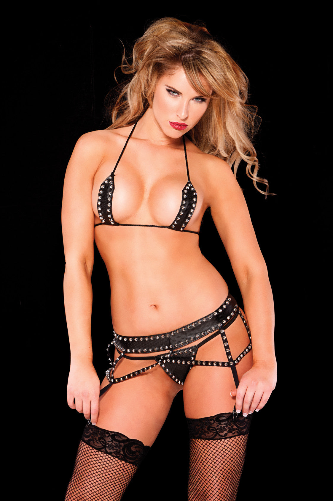 Faux Leather Bra, Garter, & G-String Set (12-9702)