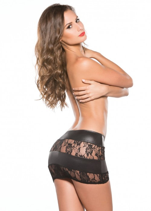 Lace & Wetlook Mini Skirt (13-5602)