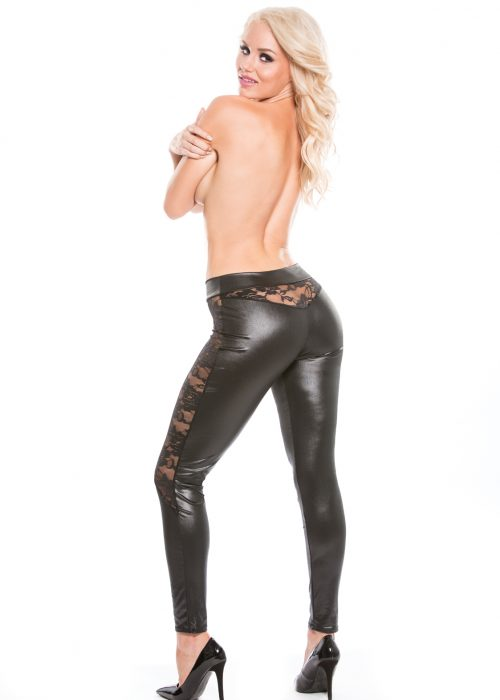 Wetlook Leggings with Lace Panels (16-4602)