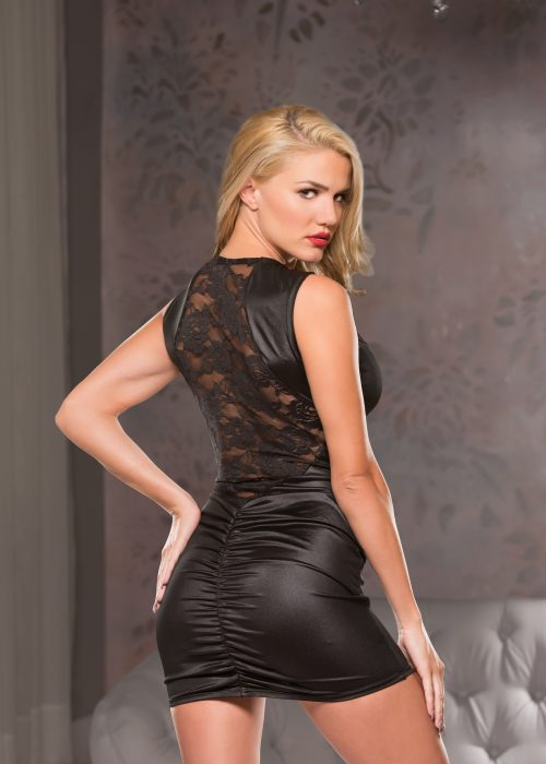 Wetlook and Lace Mini Dress (17-1772)