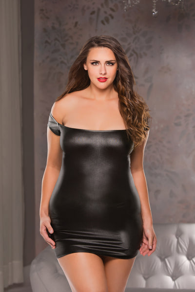 Wetlook Off-the-Shoulder Dress (17-4002+)