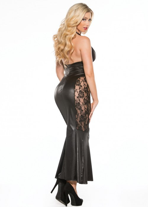 Long Halter Lace & Wetlook Dress (17-4602)