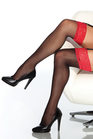 Sheer Black Stockings with Red Lace Top (1776)
