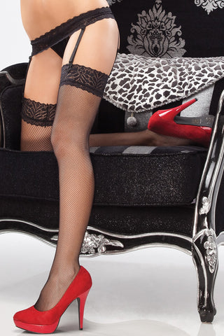 Lace Top Fishnet Thigh Highs with Garter Belt (1781)