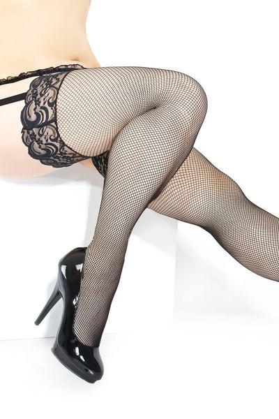 Plus Size Fishnet Stocking with Lace Top (1898)