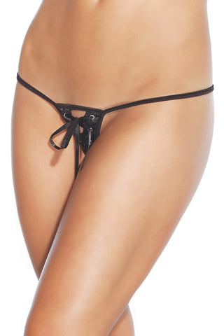 Lace Up Crotchless G-String (245)