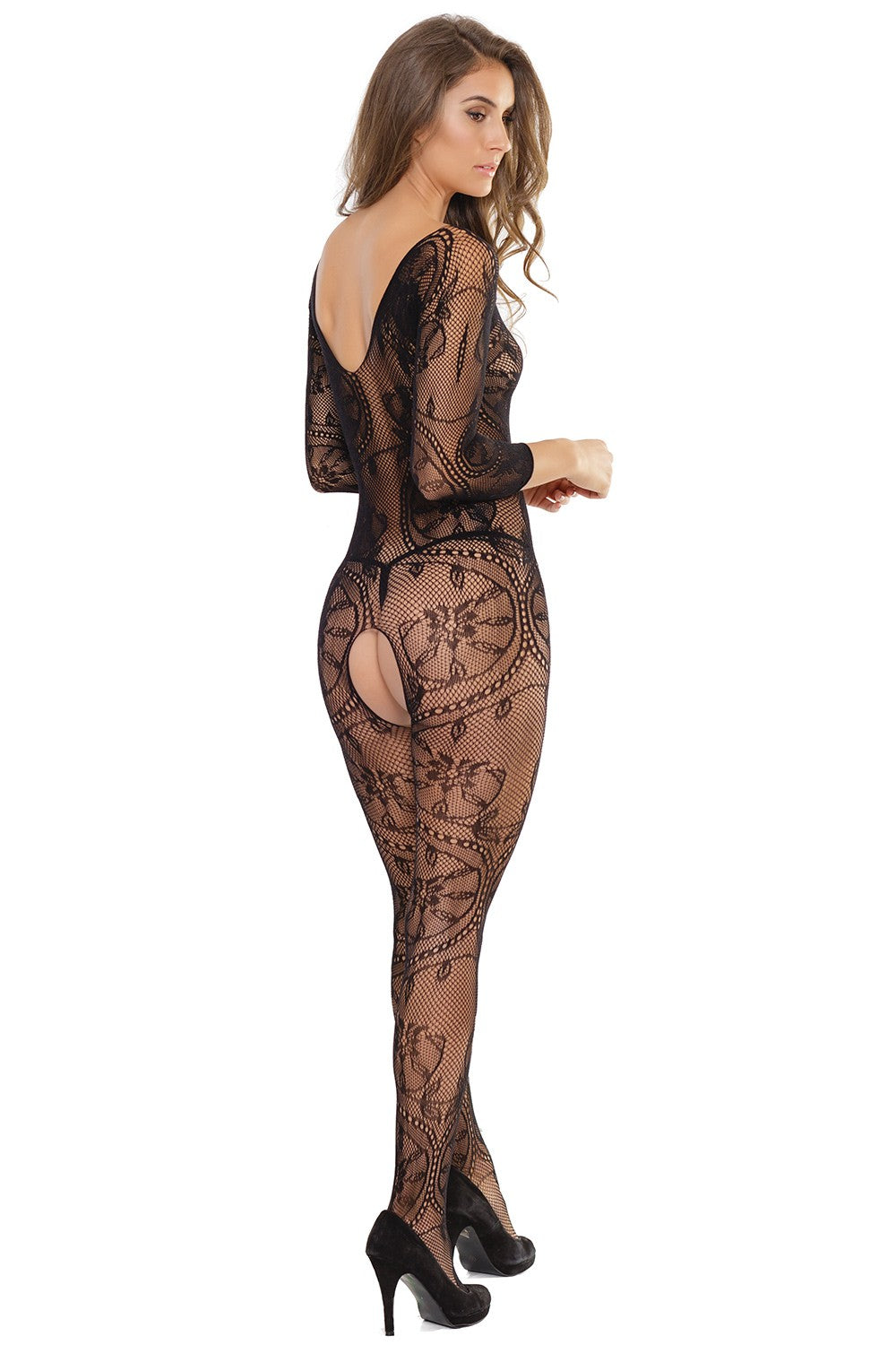 Crotchless Long Sleeve Lace Body Stocking (2559)