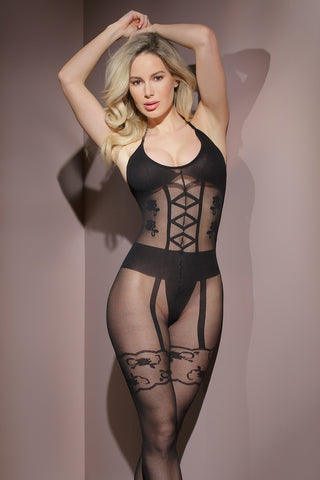 Crotchless Corset and Garter Print Body Stocking (2563)